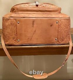 Vintage SERGIOS COLLECTION Natural Leather Hand-Tooled Western Duffle Travel Bag