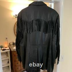 Vintage Scully Black Leather Fringed Jacket Western Cowboy RARE Size 50 L Beauty