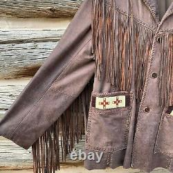 Vintage Scully Cowboy Western Leather Jacket Coat with Fringe & Beads Mens Sz 42