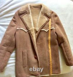 Vintage Sherpa Suede Rancher Leather Brown Jacket, Mens 38 Marlboro Man