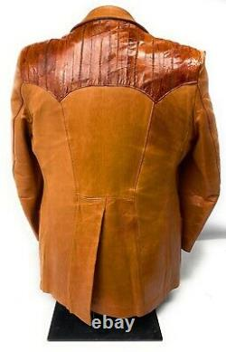 Vintage Stetson Western Blazer Jacket Leather Eelskin Brown Size 42