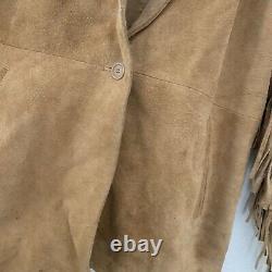 Vintage Suede Leather Fringe Western Motorcycle Work Coat Men Jacket Hippy Large