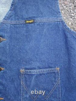 Vintage WRANGLER Men's Denim Blue Jeans Western Cowboy Vest Jacket LARGE Cotton