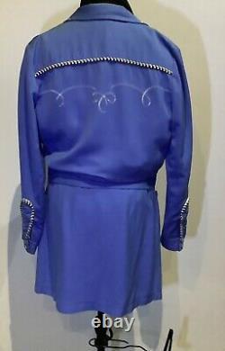 Vintage Western HBarC Women's 2 Piece Suite Baby Blue skirt Size 12 Jacket Large
