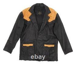 Vintage Western Leather Alligator Blazer Jacket L Large Mens 2-Button Coat