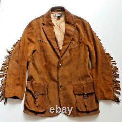 Vintage Western Polo Ralph Lauren Suede Leather Native American Fringe Jacket L