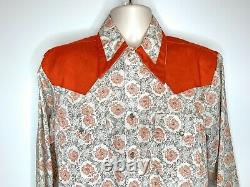 Vintage Western Shirt L Sears 1970's Rockabilly Cowboy Orange Flowers