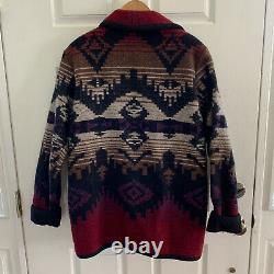 Vintage Woolrich Womens Navajo Nordic Coat Wool Blanket Jacket Southwest USA L