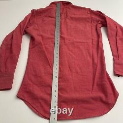 Vintage Wrangler Sanforized Rare Red Denim Button Down Shirt 60s 70s 15 33 Pearl