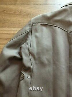 Vintage gabardine western jacket 1950s 1940s wool USA beige zipper rockabilly