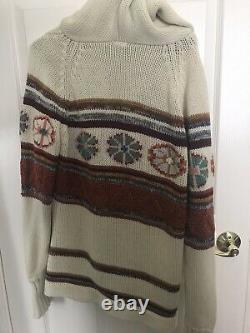 Vintage hooded cardigan sweater huichol indian peyote shawl psychedelic western