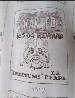 Vtg 1960's H BAR C California CaRtOOn Wanted Poster NoVeLtY Western Yoked Shirt