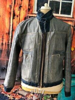 Vtg 1960`s Wrangler Blue Bell Selvedge Denim Pleated Gold Dot Motorcycle Jacket