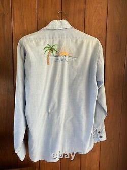 Vtg 1970s Levis Orange Tab Embroidered Chambray Shirt L