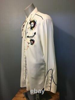 Vtg 50s 60s Gabardine H Bar C Western Pearl Snap Cowboy Shirt Mens L Rockabilly