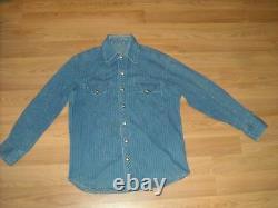 Vtg 50s 60s Mens Heavy Denim Pin Stripe Jean Cowboy Western Shirt