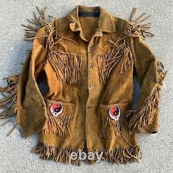 Vtg 60s 70s Leather Fringe Western Motorcycle Jacket Grateful Dead Stealie Patch