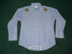 Vtg 60s 70s OLYMPIA BEER CHAMBRAY WESTERN SHIRT SzL PEARL SNAPS COWBOY EMBROIDER