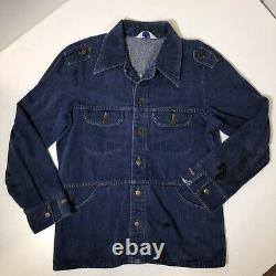 Vtg 70's Wrangler Cowboy Western CHORE Field Coat BARN Denim Jacket Ranch Shirt