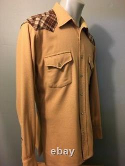 Vtg 70s 80s Pendleton Wool High Grade Western Shirt Mens L Pearl Snap Cowboy L-S