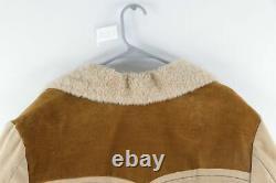 Vtg 70s Mens Large Rockabilly Sherpa Lined Western Marlboro Man Parka Jacket USA