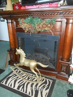 Vtg Antique Brass Horse Child Riding Infant Size Large 22 High 32 long
