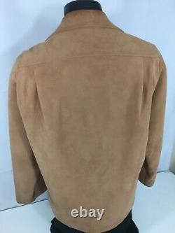 Vtg Custom Made Men Brown SUEDE Leather NUBUCK Cowboy Western ROCKABILLY Shirt