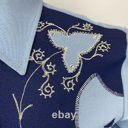 Vtg H Bar C California Ranchwear Western Smile Pearl Snap Rockabilly Shirt Lg
