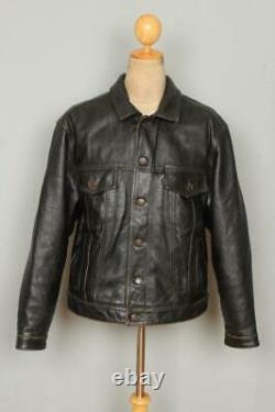 Vtg LEVIS STRAUS Leather Western Motorcycle Trucker Jacket Large