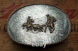 Vtg Large Diablo Sterling Silver Team Roping Western Cowboy Rodeo Belt Buckle