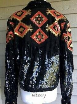 Vtg Modi Western Sequin Beaded Fringe Snap Tie Front Jacket Sz. L (10-12)