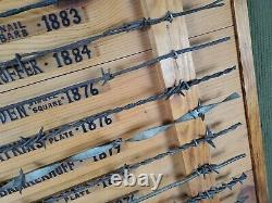 Vtg Original Barbed Wire John's Large 22 x 26.5 Display Collection of 15 Wires