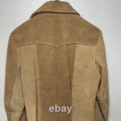 Vtg PIONEER WEAR Mens Size 40 Brown Suede leather Jacket Western