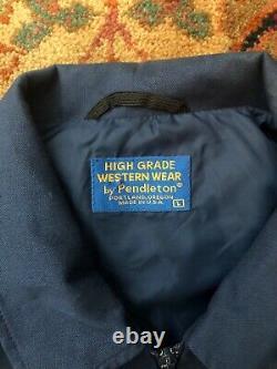 Vtg Pendleton Wool Bomber Jacket Indian Rug South Western Chief Joseph Beaver St