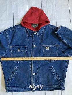 Vtg Ralph Lauren Denim Polo Country Denim Hoody Sweater Chore Jacket Made In USA
