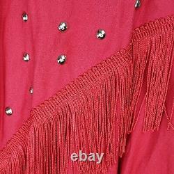 Vtg Sas'sa Large Red Square Dance Rockabilly Dress Silver Collar Tips Western