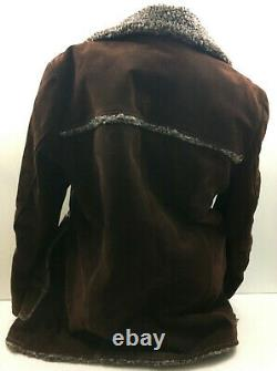 Vtg Sherpa Coat Mens Western Jacket Suede Leather Button Split Cowhide Brown 42L