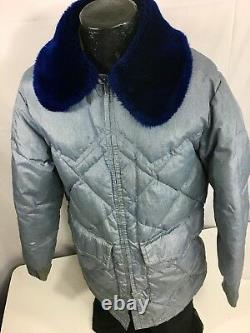 Vtg Walls Blizzard Pruf Blue DOWN Western Ranchers Coat PUFFER Snow Ski Jacket L