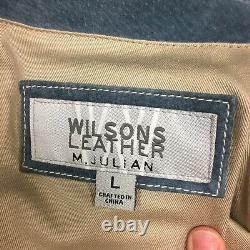 Vtg Wilson's M Julian Men Blue Leather Western Sport Coat Suede Cowboy Jacket L