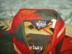 Vtg Woolrich Aztec Southwest Cotton Blanket Pattern Shirt Large Western Flannel
