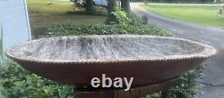 Western Brindle Hair Cowhide Lined Leather Trencher Dough Bowl Primitive LARGE