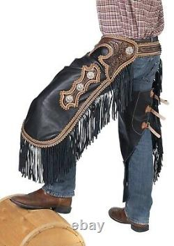 Western Chinks Chaps Floral Antiqued Tooled Yoke Smooth Black Leather M, L
