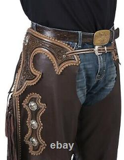 Western Chinks Chaps Floral Antiqued Tooled Yoke Smooth Brown Leather M, L