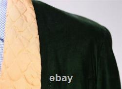 Western Costume Co. Vintage 40's-50's Emerald Green Velvet Smoking Jacket 42R