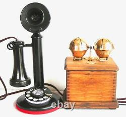 Western Electric Dial Candlestick Very Large Sleigh Bells Antique Telephone