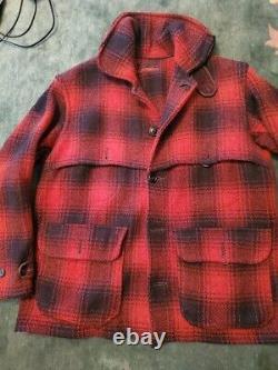 Western & Field Montgomery Ward black & red plaid HEAVY wool jacket chest 50