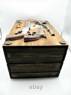 Western Pistols Bullets Large Wooden Storage Box Solid Wood Hand Painted