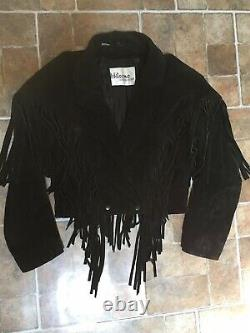 Wilson Leather black suede leather Cropped Fringe Western Jacket Size L womens