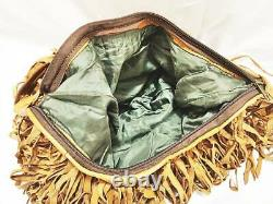 XXL Oversize LEATHER TASSEL BAG Tan Fringe Shopper Large Boho Hippie Vintage 70s